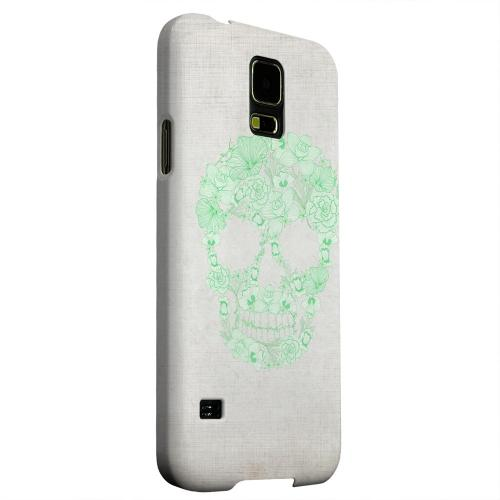 Geeks Designer Line (GDL) Samsung Galaxy S5 Matte Hard Back Cover - Floral Green Skull on Canvas
