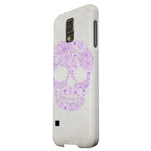 Geeks Designer Line (GDL) Samsung Galaxy S5 Matte Hard Back Cover - Floral Violet Skull on Canvas