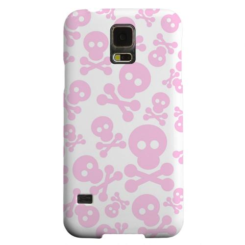 Geeks Designer Line (GDL) Samsung Galaxy S5 Matte Hard Back Cover - Skull Face Invasion Pink on White