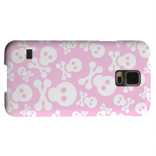 Geeks Designer Line (GDL) Samsung Galaxy S5 Matte Hard Back Cover - Skull Face Invasion White on Pink
