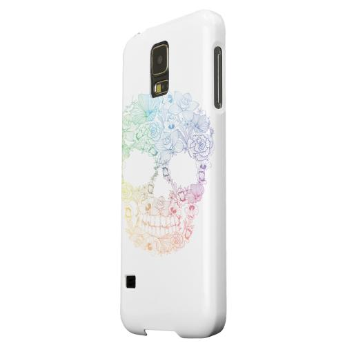 Geeks Designer Line (GDL) Samsung Galaxy S5 Matte Hard Back Cover - Floral Rainbow Skull on White