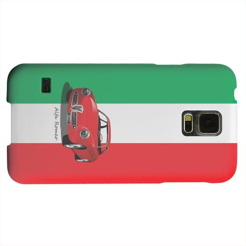 Geeks Designer Line (GDL) Samsung Galaxy S5 Matte Hard Back Cover - Red Alfa Romeo on Green/ White/ Red
