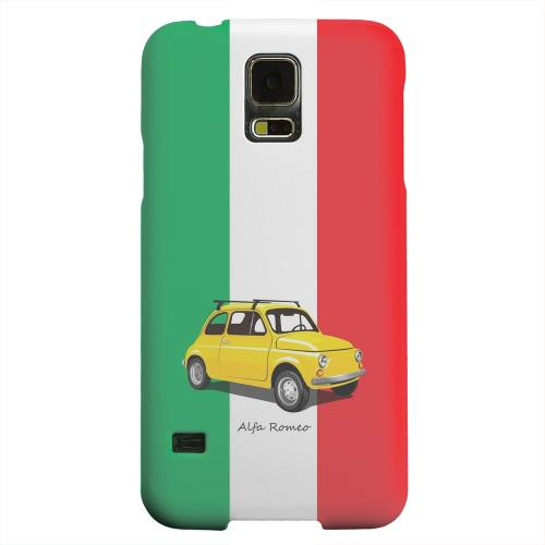 Geeks Designer Line (GDL) Samsung Galaxy S5 Matte Hard Back Cover - Yellow Alfa Romeo on Green/ White/ Red