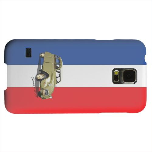 Geeks Designer Line (GDL) Samsung Galaxy S5 Matte Hard Back Cover - Citroen 2CV on Blue/ White/ Red