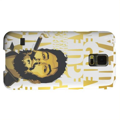 Geeks Designer Line (GDL) Samsung Galaxy S5 Matte Hard Back Cover - Che Guevara Smoke White Letters on Gold