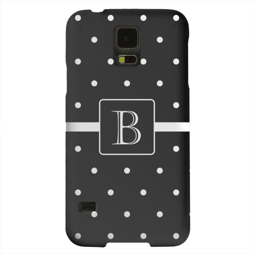 Geeks Designer Line (GDL) Samsung Galaxy S5 Matte Hard Back Cover - Monogram B on Classic Mini Polka Dots
