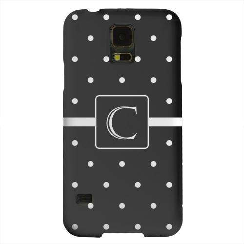 Geeks Designer Line (GDL) Samsung Galaxy S5 Matte Hard Back Cover - Monogram C on Classic Mini Polka Dots