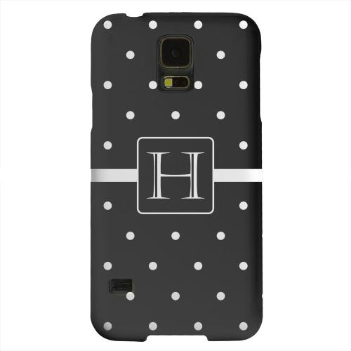 Geeks Designer Line (GDL) Samsung Galaxy S5 Matte Hard Back Cover - Monogram H on Classic Mini Polka Dots