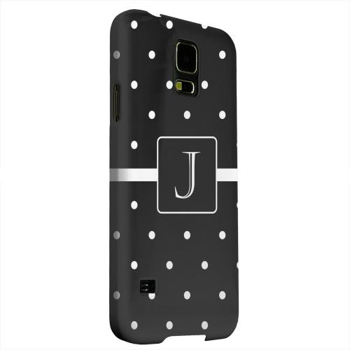Geeks Designer Line (GDL) Samsung Galaxy S5 Matte Hard Back Cover - Monogram J on Classic Mini Polka Dots
