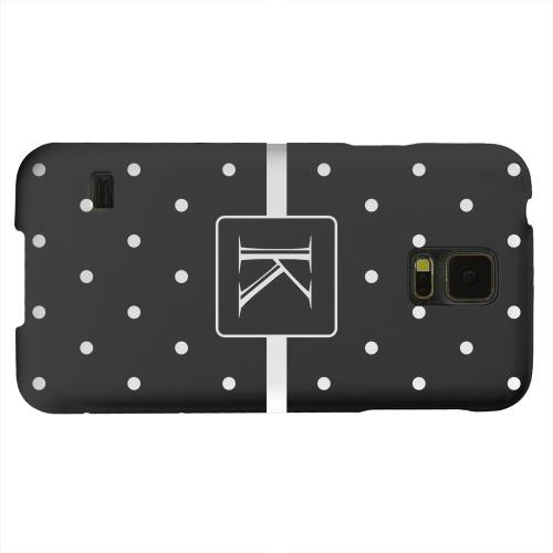 Geeks Designer Line (GDL) Samsung Galaxy S5 Matte Hard Back Cover - Monogram K on Classic Mini Polka Dots
