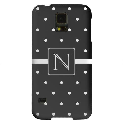 Geeks Designer Line (GDL) Samsung Galaxy S5 Matte Hard Back Cover - Monogram N on Classic Mini Polka Dots