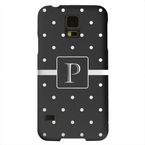 Geeks Designer Line (GDL) Samsung Galaxy S5 Matte Hard Back Cover - Monogram P on Classic Mini Polka Dots