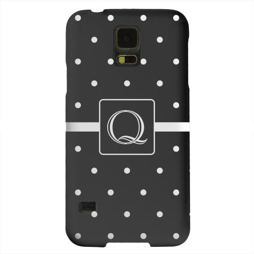Geeks Designer Line (GDL) Samsung Galaxy S5 Matte Hard Back Cover - Monogram Q on Classic Mini Polka Dots