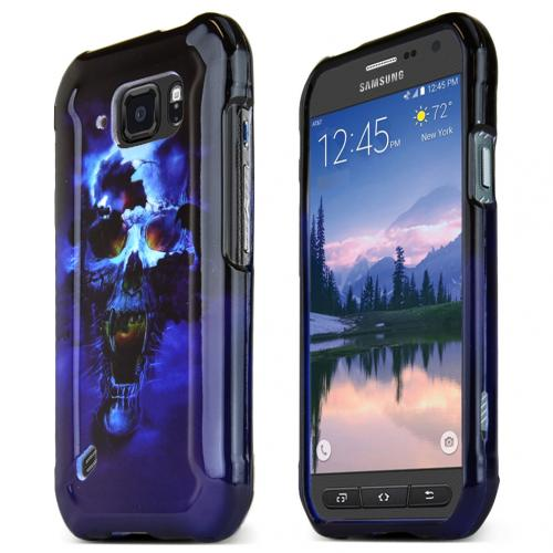 Samsung Galaxy S6 Active Case, [Blue Skull] Slim & Protective Crystal Glossy Snap-on Hard Polycarbonate Plastic Protective Case