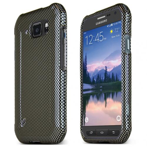 Samsung Galaxy S6 Active Case, [Carbon Fiber Design] Slim & Protective Crystal Glossy Snap-on Hard Polycarbonate Plastic Protective Case