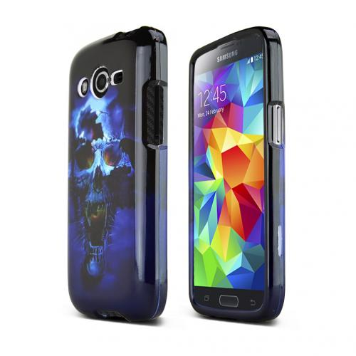Blue Skull Samsung Galaxy Avant Hard Case Cover; Perfect fit as Best Coolest Design Plastic Cases