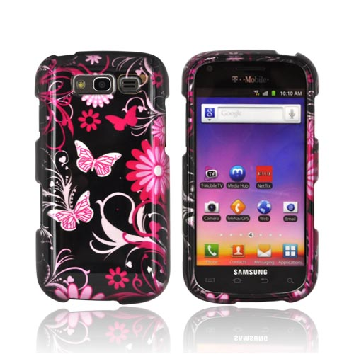 Samsung Galaxy S Blaze 4G Hard Case - Pink Flowers and Butterflies on Black