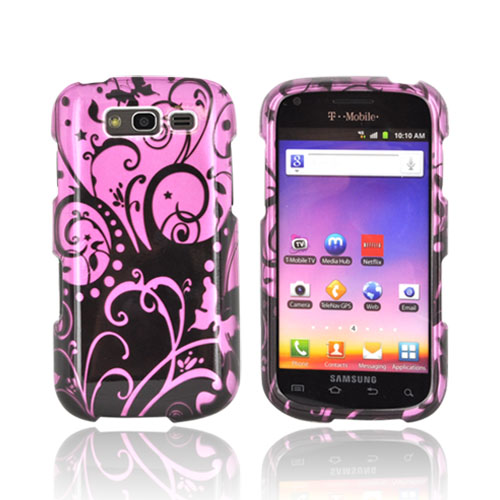Samsung Galaxy S Blaze 4G Hard Case - Black Swirls Design on Purple