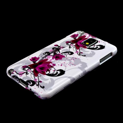 Magenta Flowers w/ Black Vines on White Hard Case for Samsung Galaxy Note 3