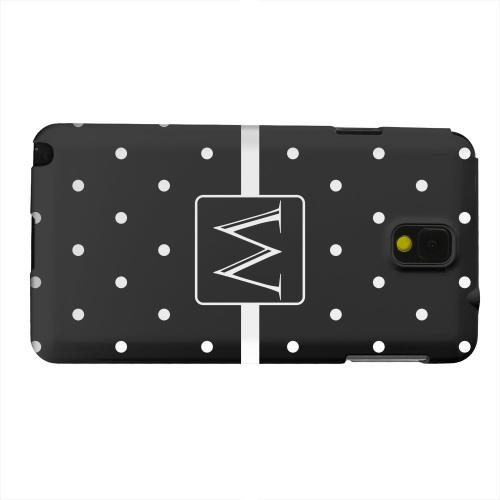 Geeks Designer Line (GDL) Samsung Galaxy Note 3 Matte Hard Back Cover - Monogram W on Classic Mini Polka Dots