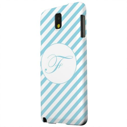 Geeks Designer Line (GDL) Samsung Galaxy Note 3 Matte Hard Back Cover - Calligraphy Monogram F on Mint Slanted Stripes