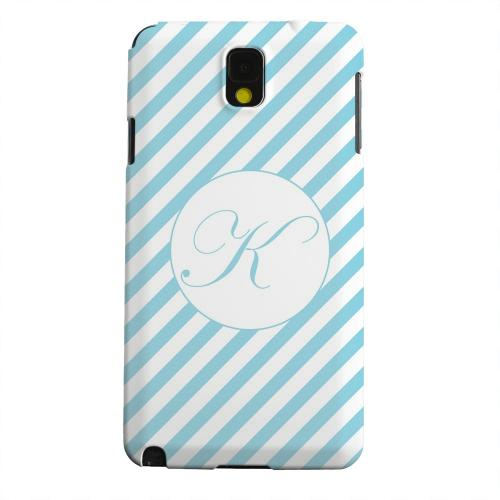 Geeks Designer Line (GDL) Samsung Galaxy Note 3 Matte Hard Back Cover - Calligraphy Monogram K on Mint Slanted Stripes
