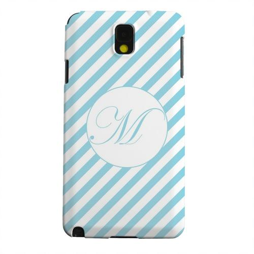 Geeks Designer Line (GDL) Samsung Galaxy Note 3 Matte Hard Back Cover - Calligraphy Monogram M on Mint Slanted Stripes