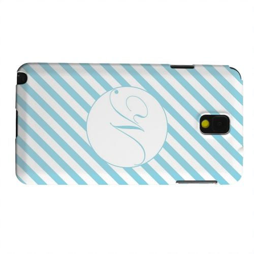 Geeks Designer Line (GDL) Samsung Galaxy Note 3 Matte Hard Back Cover - Calligraphy Monogram N on Mint Slanted Stripes