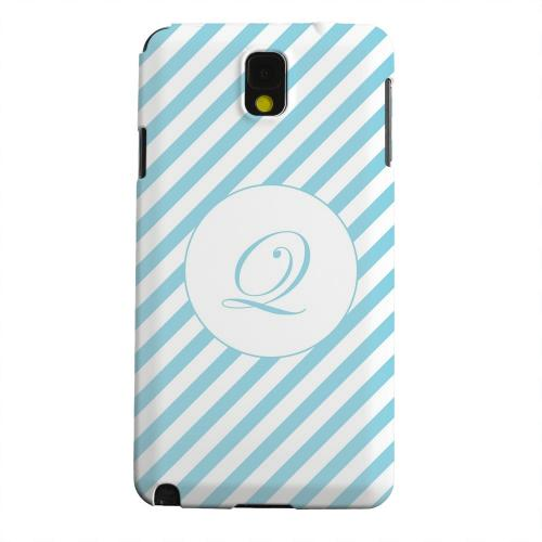 Geeks Designer Line (GDL) Samsung Galaxy Note 3 Matte Hard Back Cover - Calligraphy Monogram Q on Mint Slanted Stripes