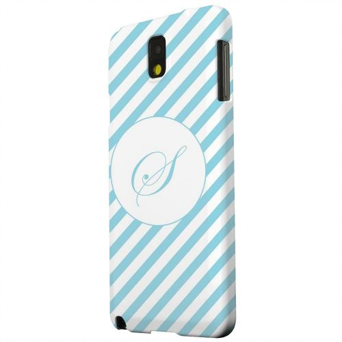 Geeks Designer Line (GDL) Samsung Galaxy Note 3 Matte Hard Back Cover - Calligraphy Monogram S on Mint Slanted Stripes