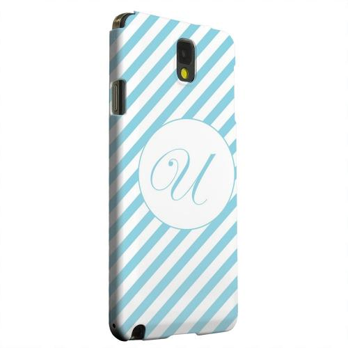 Geeks Designer Line (GDL) Samsung Galaxy Note 3 Matte Hard Back Cover - Calligraphy Monogram U on Mint Slanted Stripes