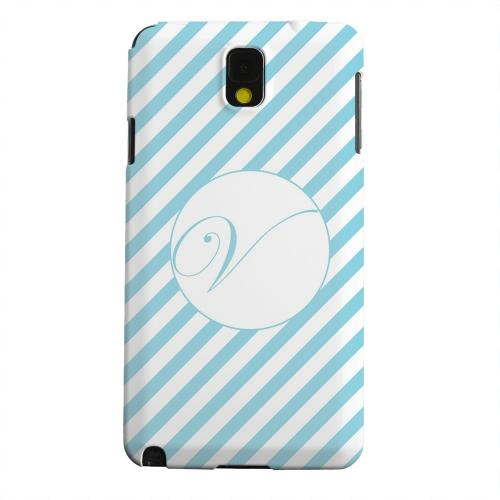 Geeks Designer Line (GDL) Samsung Galaxy Note 3 Matte Hard Back Cover - Calligraphy Monogram V on Mint Slanted Stripes