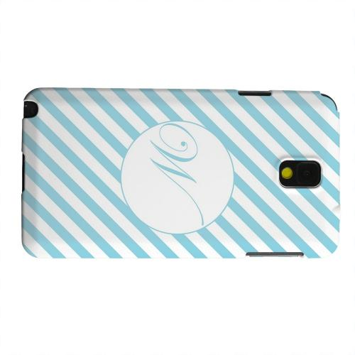 Geeks Designer Line (GDL) Samsung Galaxy Note 3 Matte Hard Back Cover - Calligraphy Monogram W on Mint Slanted Stripes