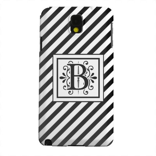 Geeks Designer Line (GDL) Samsung Galaxy Note 3 Matte Hard Back Cover - Vintage Vine Monogram B On Black Slanted Stripes