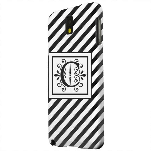Geeks Designer Line (GDL) Samsung Galaxy Note 3 Matte Hard Back Cover - Vintage Vine Monogram C On Black Slanted Stripes