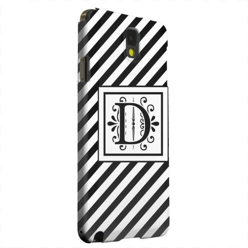 Geeks Designer Line (GDL) Samsung Galaxy Note 3 Matte Hard Back Cover - Vintage Vine Monogram D On Black Slanted Stripes