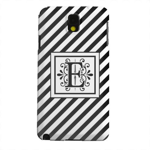Geeks Designer Line (GDL) Samsung Galaxy Note 3 Matte Hard Back Cover - Vintage Vine Monogram E On Black Slanted Stripes