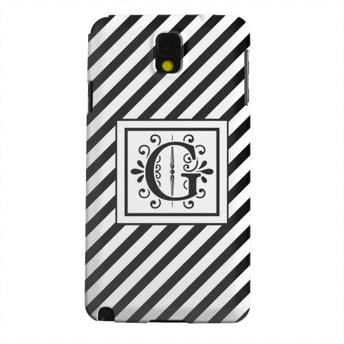 Geeks Designer Line (GDL) Samsung Galaxy Note 3 Matte Hard Back Cover - Vintage Vine Monogram G On Black Slanted Stripes