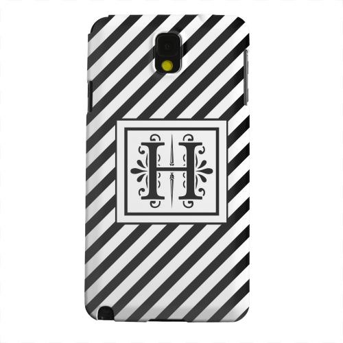 Geeks Designer Line (GDL) Samsung Galaxy Note 3 Matte Hard Back Cover - Vintage Vine Monogram H On Black Slanted Stripes