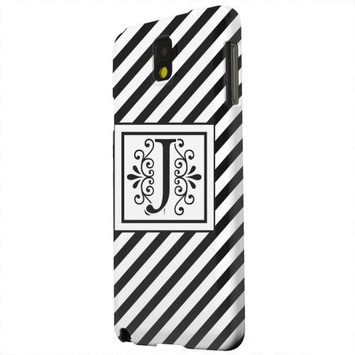 Geeks Designer Line (GDL) Samsung Galaxy Note 3 Matte Hard Back Cover - Vintage Vine Monogram J On Black Slanted Stripes