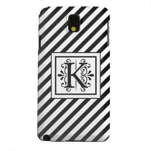 Geeks Designer Line (GDL) Samsung Galaxy Note 3 Matte Hard Back Cover - Vintage Vine Monogram K On Black Slanted Stripes