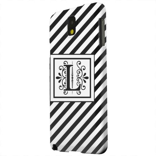 Geeks Designer Line (GDL) Samsung Galaxy Note 3 Matte Hard Back Cover - Vintage Vine Monogram L On Black Slanted Stripes