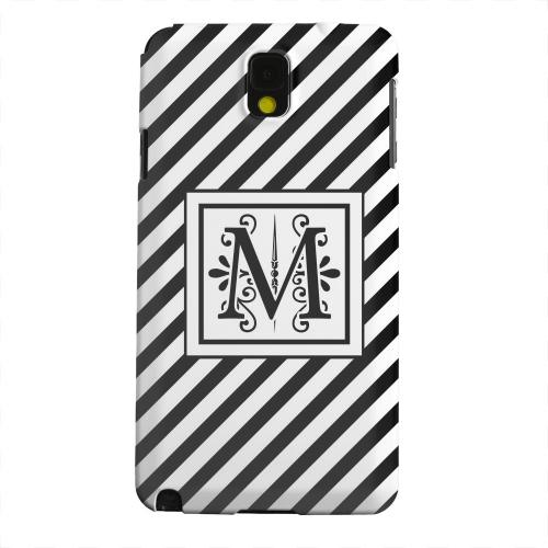 Geeks Designer Line (GDL) Samsung Galaxy Note 3 Matte Hard Back Cover - Vintage Vine Monogram M On Black Slanted Stripes