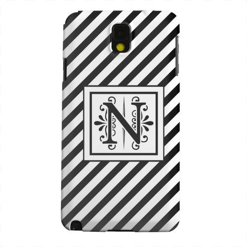 Geeks Designer Line (GDL) Samsung Galaxy Note 3 Matte Hard Back Cover - Vintage Vine Monogram N On Black Slanted Stripes