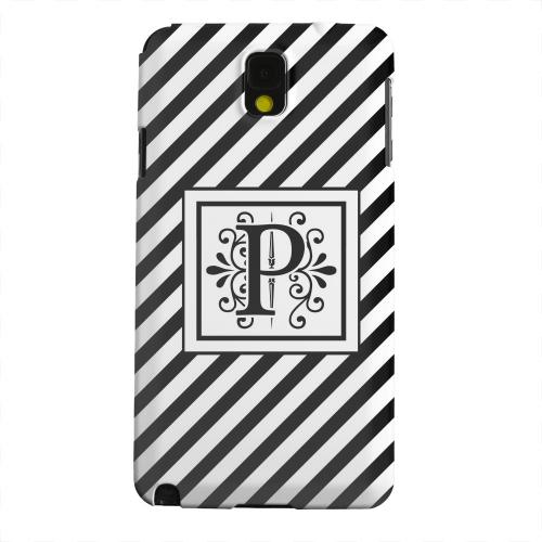 Geeks Designer Line (GDL) Samsung Galaxy Note 3 Matte Hard Back Cover - Vintage Vine Monogram P On Black Slanted Stripes
