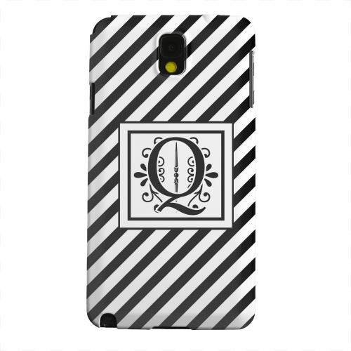 Geeks Designer Line (GDL) Samsung Galaxy Note 3 Matte Hard Back Cover - Vintage Vine Monogram Q On Black Slanted Stripes