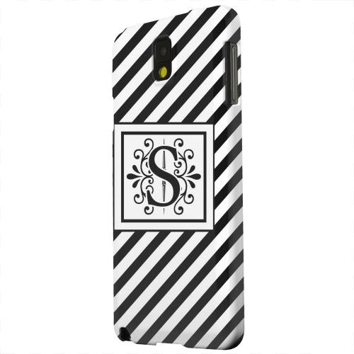Geeks Designer Line (GDL) Samsung Galaxy Note 3 Matte Hard Back Cover - Vintage Vine Monogram S On Black Slanted Stripes