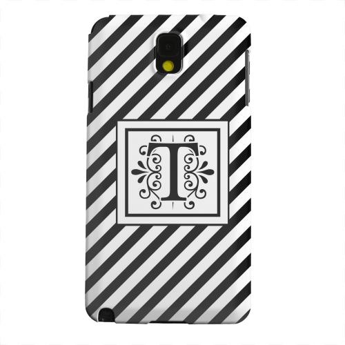 Geeks Designer Line (GDL) Samsung Galaxy Note 3 Matte Hard Back Cover - Vintage Vine Monogram T On Black Slanted Stripes