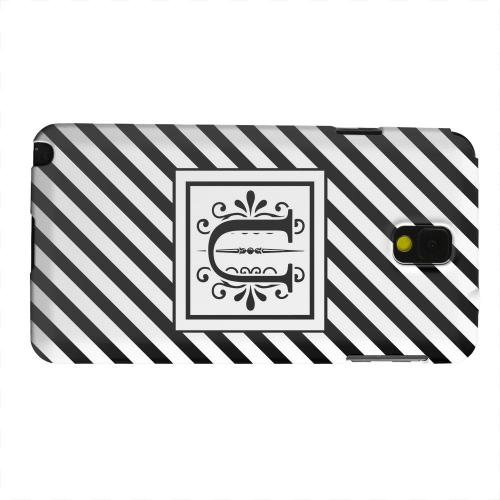 Geeks Designer Line (GDL) Samsung Galaxy Note 3 Matte Hard Back Cover - Vintage Vine Monogram U On Black Slanted Stripes