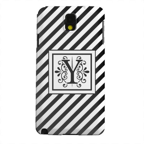 Geeks Designer Line (GDL) Samsung Galaxy Note 3 Matte Hard Back Cover - Vintage Vine Monogram Y On Black Slanted Stripes